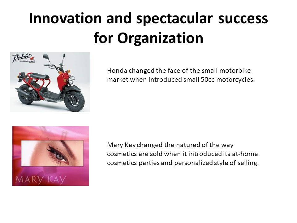 Innovation and spectacular success for Organization Honda changed the face of the small motorbike market when introduced small 50cc motorcycles.