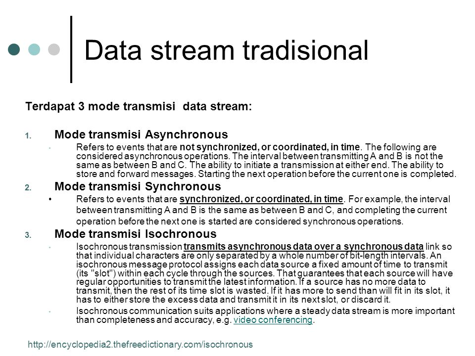 Data stream tradisional Terdapat 3 mode transmisi data stream: 1. Mode transmisi Asynchronous • Refers to events that are not synchronized, or coordin