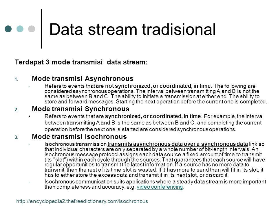Data stream tradisional Terdapat 3 mode transmisi data stream: 1.