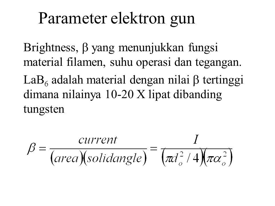 Parameter elektron gun Brightness,  yang menunjukkan fungsi material filamen, suhu operasi dan tegangan.