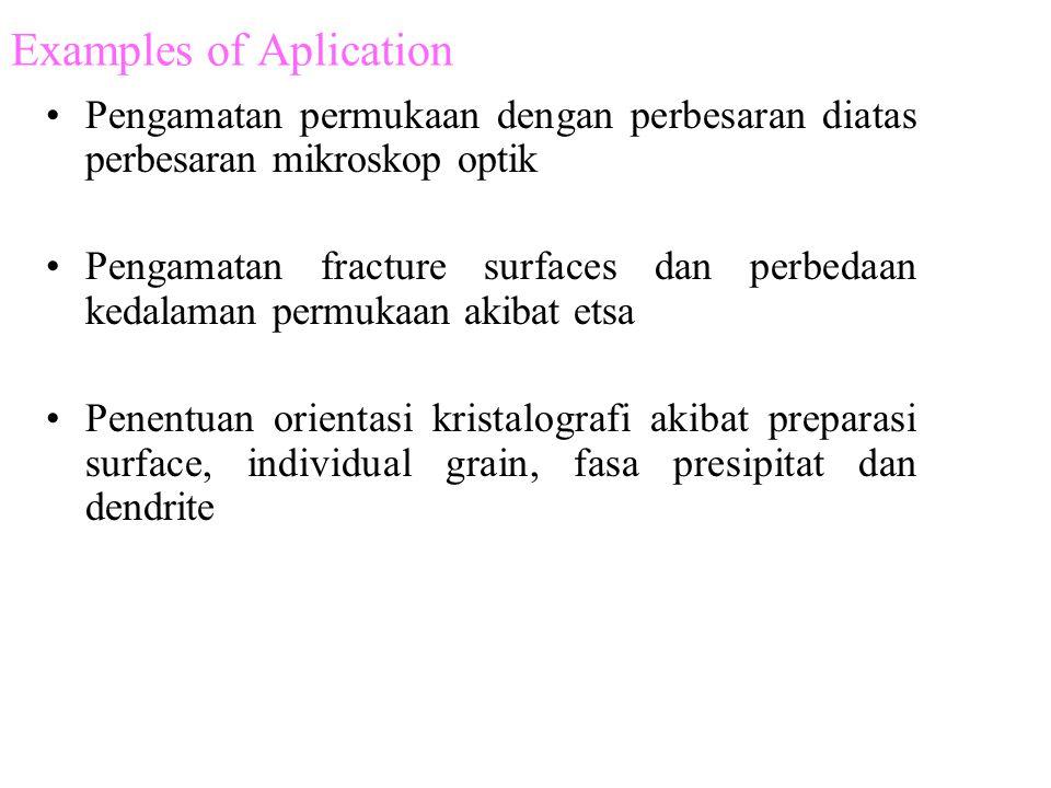 Examples of Aplication •Pengamatan permukaan dengan perbesaran diatas perbesaran mikroskop optik •Pengamatan fracture surfaces dan perbedaan kedalaman permukaan akibat etsa •Penentuan orientasi kristalografi akibat preparasi surface, individual grain, fasa presipitat dan dendrite