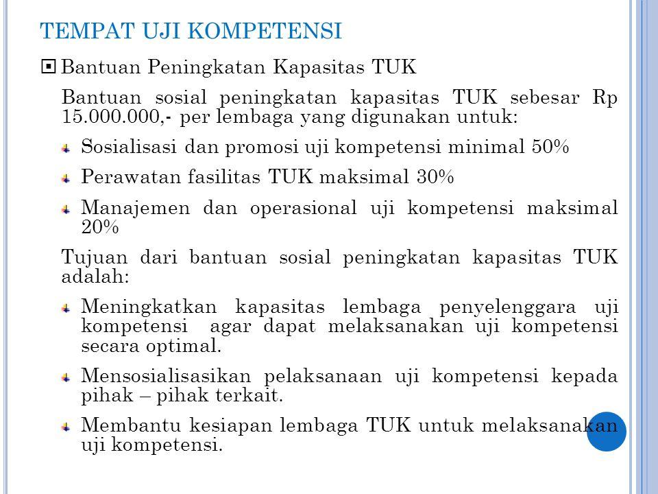 TEMPAT UJI KOMPETENSI  Bantuan Peningkatan Kapasitas TUK Bantuan sosial peningkatan kapasitas TUK sebesar Rp 15.000.000,- per lembaga yang digunakan