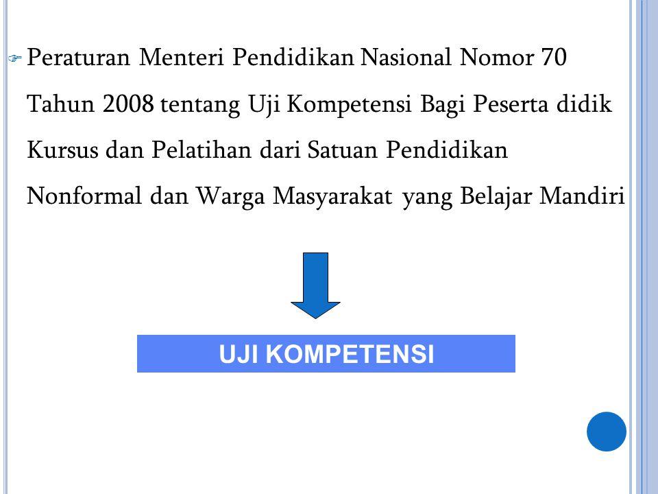  Peraturan Menteri Pendidikan Nasional Nomor 70 Tahun 2008 tentang Uji Kompetensi Bagi Peserta didik Kursus dan Pelatihan dari Satuan Pendidikan Nonf