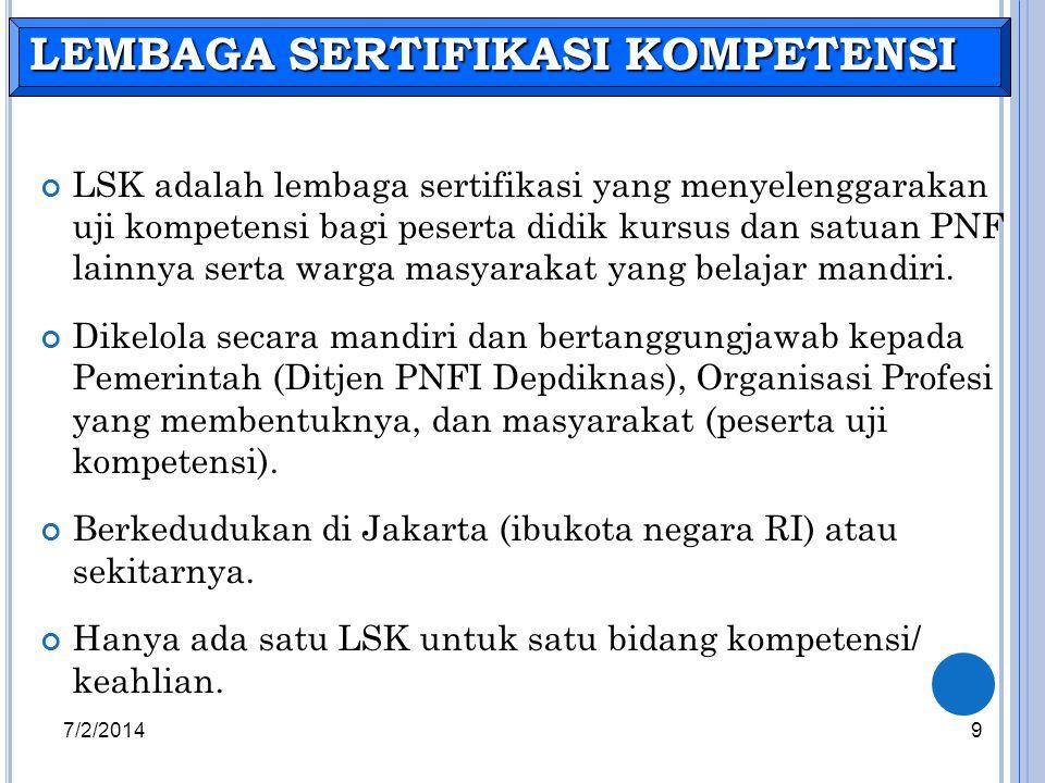LSK adalah lembaga sertifikasi yang menyelenggarakan uji kompetensi bagi peserta didik kursus dan satuan PNF lainnya serta warga masyarakat yang belaj