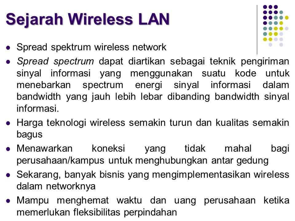 Sejarah Wireless LAN  Spread spektrum wireless network  Spread spectrum dapat diartikan sebagai teknik pengiriman sinyal informasi yang menggunakan suatu kode untuk menebarkan spectrum energi sinyal informasi dalam bandwidth yang jauh lebih lebar dibanding bandwidth sinyal informasi.