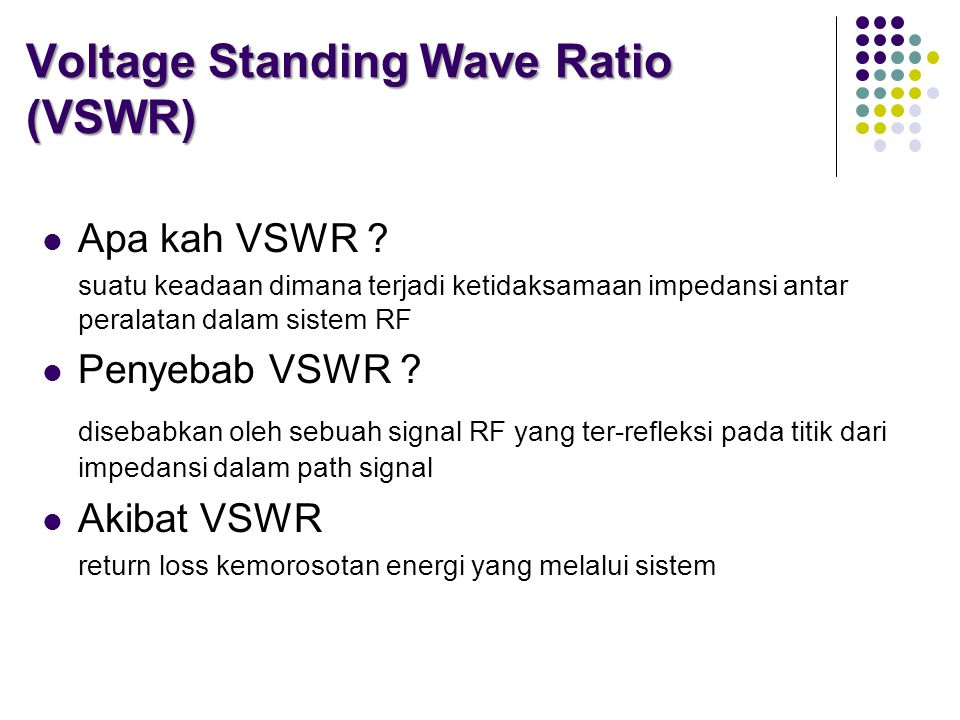 Voltage Standing Wave Ratio (VSWR)  Apa kah VSWR .