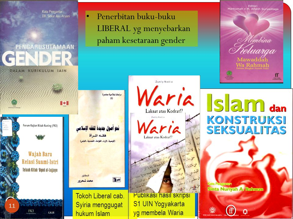 •Penerbitan buku-buku LIBERAL yg menyebarkan paham kesetaraan gender Tokoh Liberal cab.