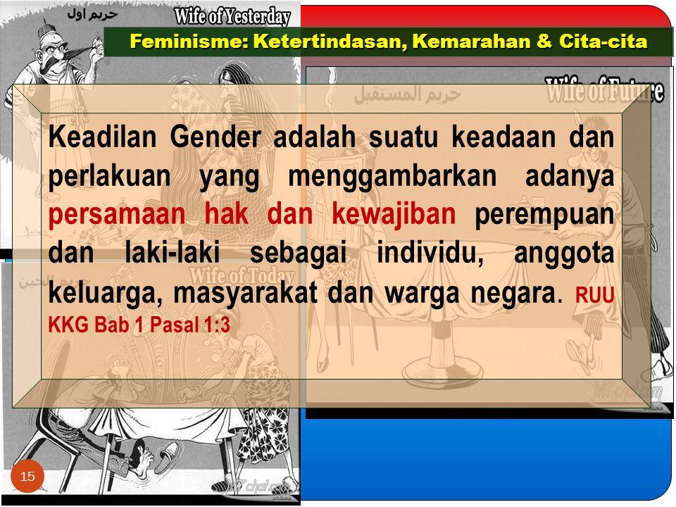 Feminisme: Ketertindasan, Kemarahan & Cita-cita Keadilan Gender adalah suatu keadaan dan perlakuan yang menggambarkan adanya persamaan hak dan kewajiban perempuan dan laki-laki sebagai individu, anggota keluarga, masyarakat dan warga negara.