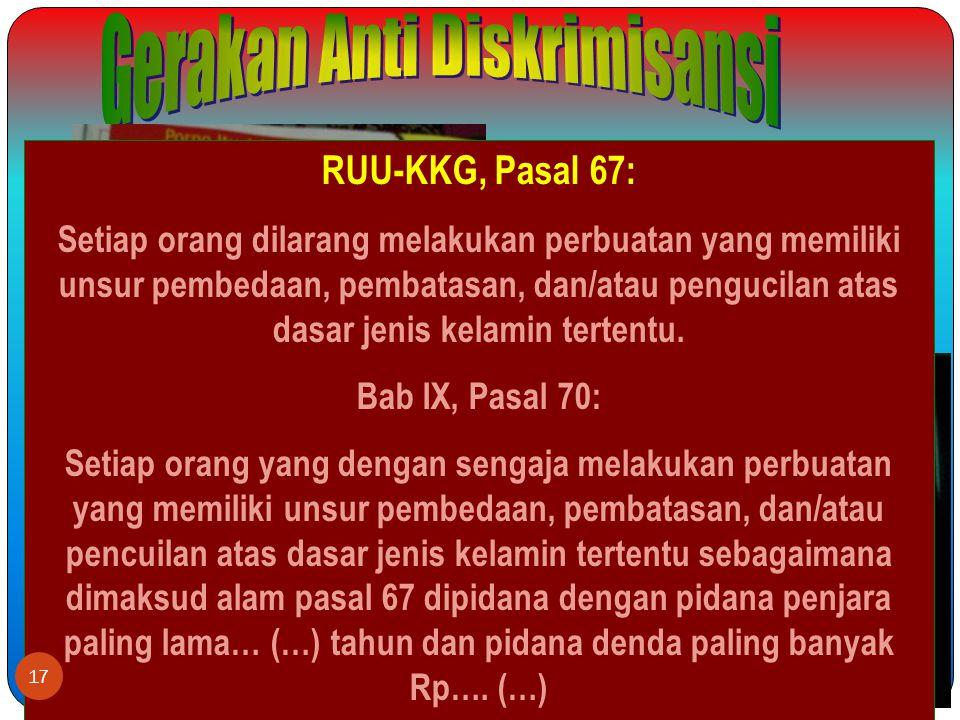 RUU-KKG, Pasal 67: Setiap orang dilarang melakukan perbuatan yang memiliki unsur pembedaan, pembatasan, dan/atau pengucilan atas dasar jenis kelamin tertentu.