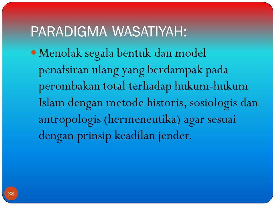 PARADIGMA WASATIYAH:  Menolak segala bentuk dan model penafsiran ulang yang berdampak pada perombakan total terhadap hukum-hukum Islam dengan metode historis, sosiologis dan antropologis (hermeneutika) agar sesuai dengan prinsip keadilan jender.