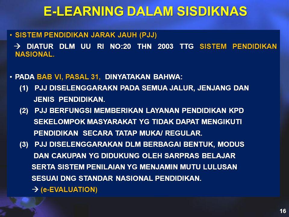 E-LEARNING DALAM SISDIKNAS •SISTEM PENDIDIKAN JARAK JAUH (PJJ)  DIATUR DLM UU RI NO:20 THN 2003 TTG SISTEM PENDIDIKAN NASIONAL.