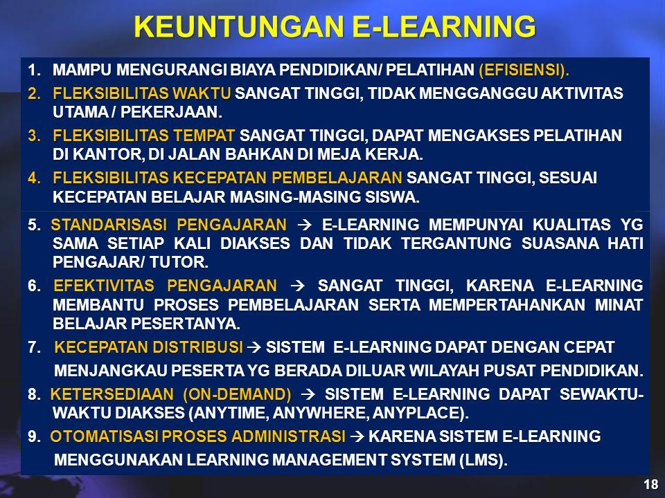 KEUNTUNGAN E-LEARNING 1.MAMPU MENGURANGI BIAYA PENDIDIKAN/ PELATIHAN (EFISIENSI).