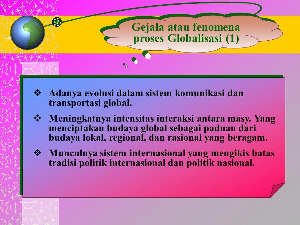 Gejala atau fenomena proses Globalisasi (1)  Adanya evolusi dalam sistem komunikasi dan transportasi global.  Meningkatnya intensitas interaksi anta