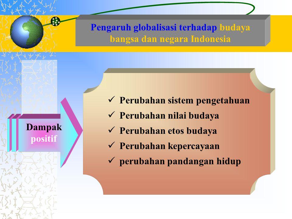 Pengaruh globalisasi terhadap budaya bangsa dan negara Indonesia  Perubahan sistem pengetahuan  Perubahan nilai budaya  Perubahan etos budaya  Per