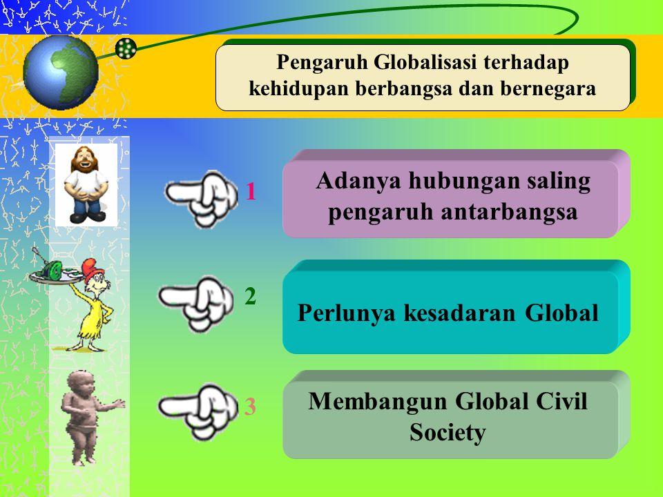 Pengaruh Globalisasi terhadap kehidupan berbangsa dan bernegara Adanya hubungan saling pengaruh antarbangsa Perlunya kesadaran Global Membangun Global