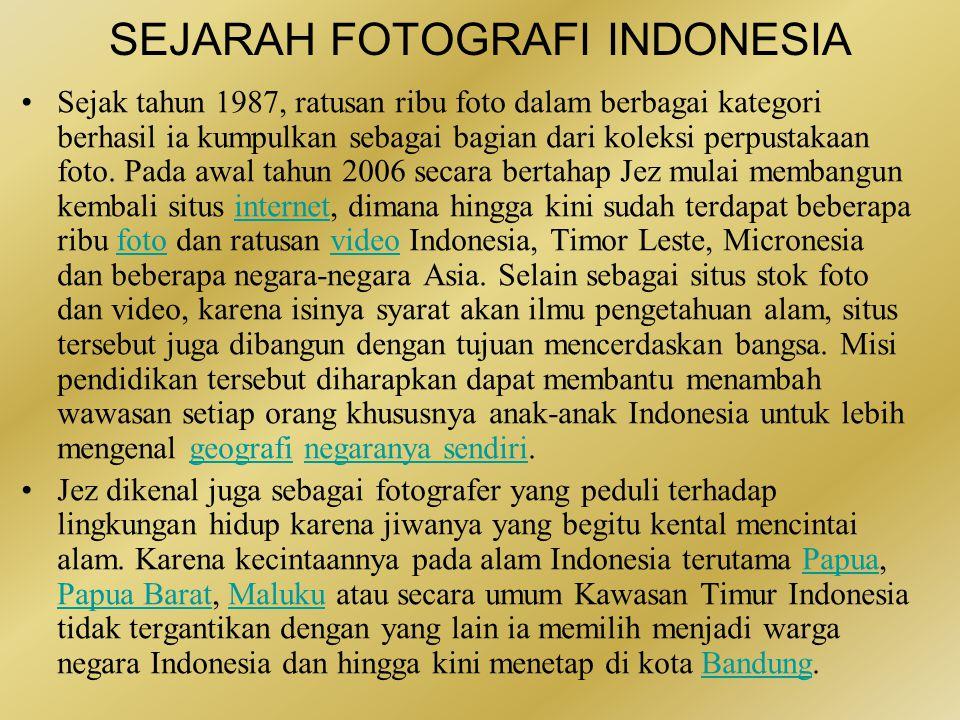 SEJARAH FOTOGRAFI INDONESIA •Foto udara atau aerial photography merupakan salah satu bidang fotografi yang garapannya sudah dapat dipastikan masih relatif langka di Indonesia.