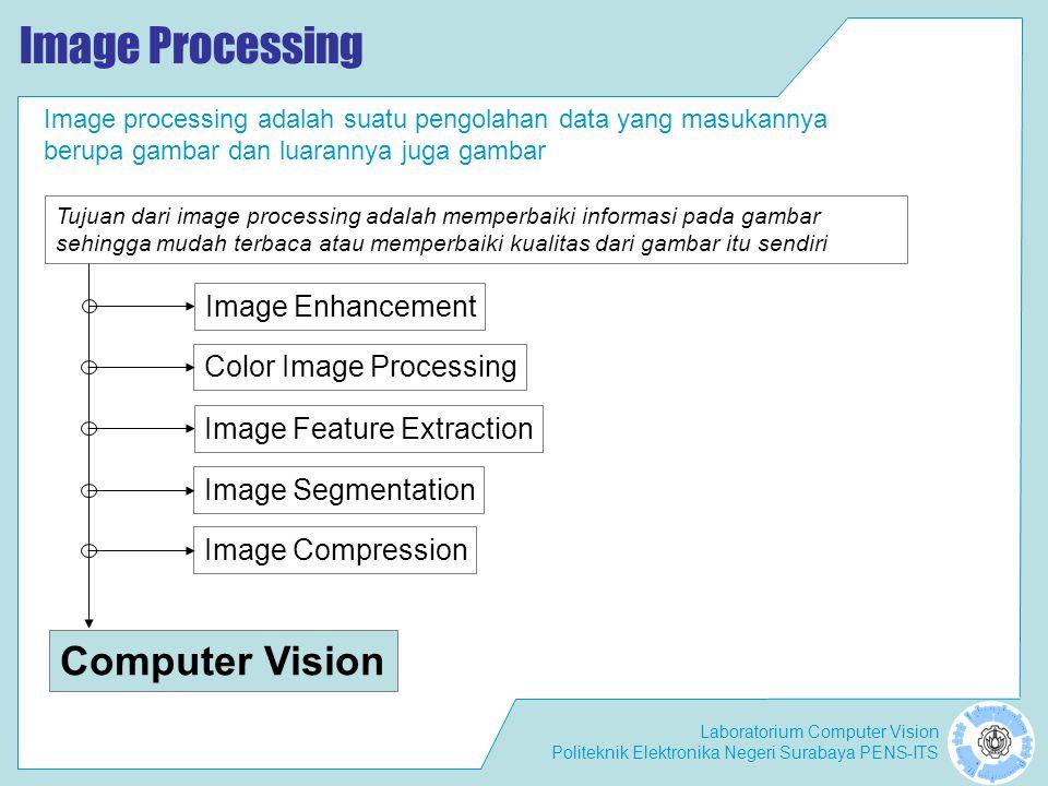 Laboratorium Computer Vision Politeknik Elektronika Negeri Surabaya PENS-ITS Image Processing Image processing adalah suatu pengolahan data yang masuk