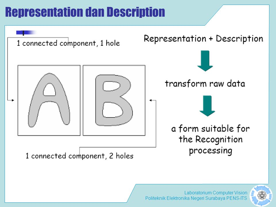 Laboratorium Computer Vision Politeknik Elektronika Negeri Surabaya PENS-ITS Representation dan Description