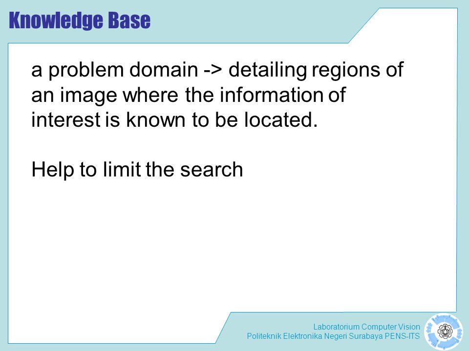 Laboratorium Computer Vision Politeknik Elektronika Negeri Surabaya PENS-ITS Knowledge Base a problem domain -> detailing regions of an image where th