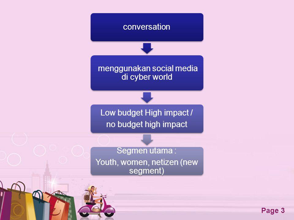 Free Powerpoint Templates Page 3 conversation menggunakan social media di cyber world Low budget High impact / no budget high impact Segmen utama : Yo