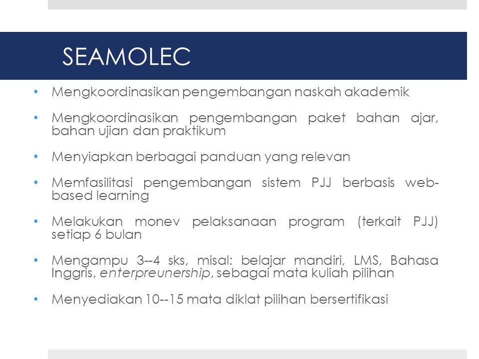 SEAMOLEC • Mengkoordinasikan pengembangan naskah akademik • Mengkoordinasikan pengembangan paket bahan ajar, bahan ujian dan praktikum • Menyiapkan berbagai panduan yang relevan • Memfasilitasi pengembangan sistem PJJ berbasis web- based learning • Melakukan monev pelaksanaan program (terkait PJJ) setiap 6 bulan • Mengampu 3--4 sks, misal: belajar mandiri, LMS, Bahasa Inggris, enterpreunership, sebagai mata kuliah pilihan • Menyediakan 10--15 mata diklat pilihan bersertifikasi