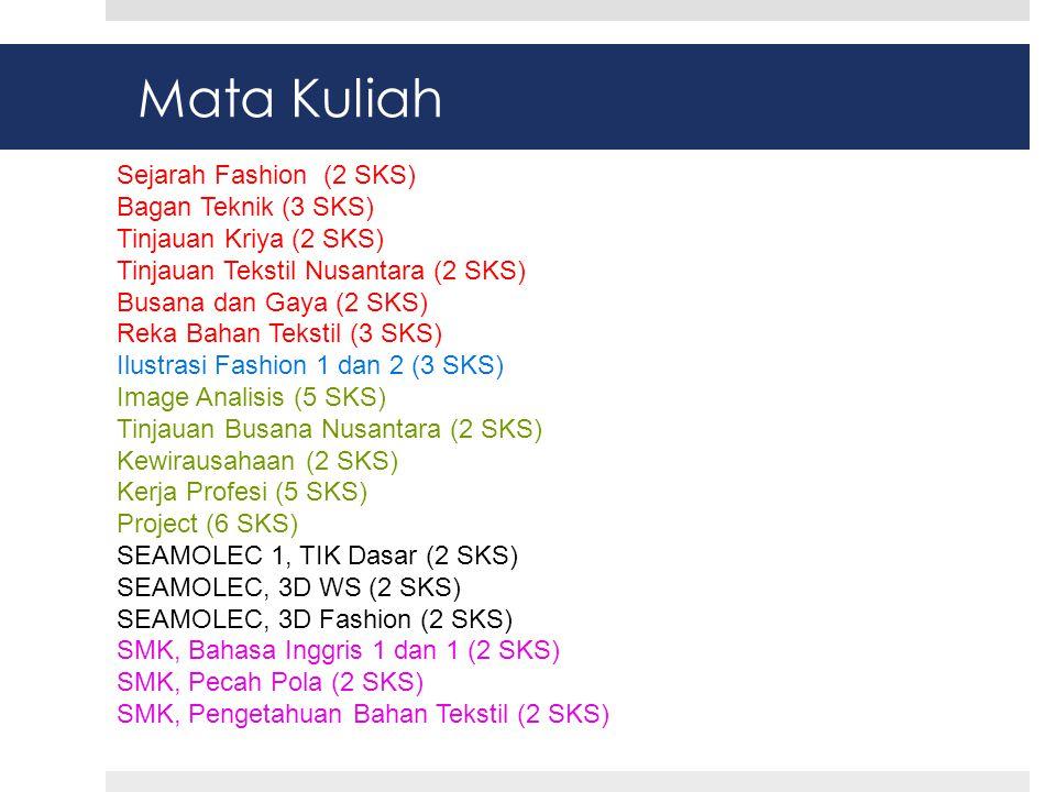 Mata Kuliah Sejarah Fashion (2 SKS) Bagan Teknik (3 SKS) Tinjauan Kriya (2 SKS) Tinjauan Tekstil Nusantara (2 SKS) Busana dan Gaya (2 SKS) Reka Bahan Tekstil (3 SKS) Ilustrasi Fashion 1 dan 2 (3 SKS) Image Analisis (5 SKS) Tinjauan Busana Nusantara (2 SKS) Kewirausahaan (2 SKS) Kerja Profesi (5 SKS) Project (6 SKS) SEAMOLEC 1, TIK Dasar (2 SKS) SEAMOLEC, 3D WS (2 SKS) SEAMOLEC, 3D Fashion (2 SKS) SMK, Bahasa Inggris 1 dan 1 (2 SKS) SMK, Pecah Pola (2 SKS) SMK, Pengetahuan Bahan Tekstil (2 SKS)