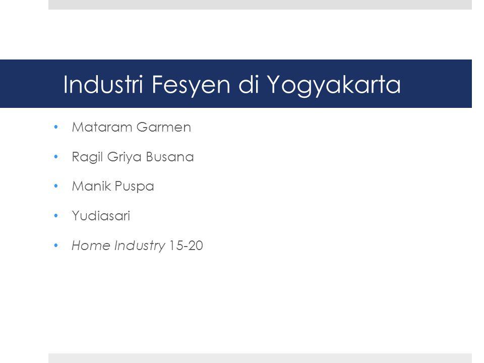Industri Fesyen di Yogyakarta • Mataram Garmen • Ragil Griya Busana • Manik Puspa • Yudiasari • Home Industry 15-20
