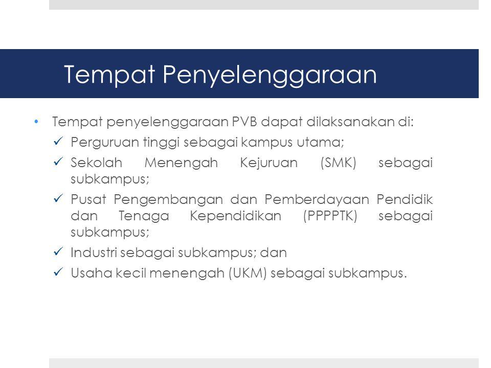Tempat Penyelenggaraan • Tempat penyelenggaraan PVB dapat dilaksanakan di:  Perguruan tinggi sebagai kampus utama;  Sekolah Menengah Kejuruan (SMK) sebagai subkampus;  Pusat Pengembangan dan Pemberdayaan Pendidik dan Tenaga Kependidikan (PPPPTK) sebagai subkampus;  Industri sebagai subkampus; dan  Usaha kecil menengah (UKM) sebagai subkampus.