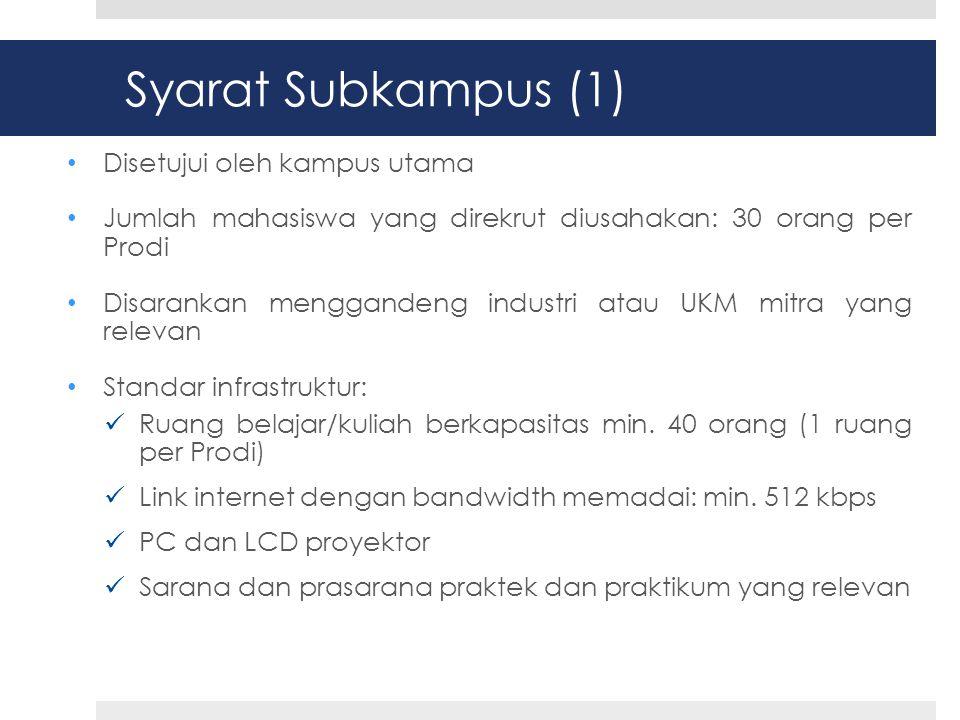 Calon Subkampus (1) • SMKN 30 Jakarta • SMKN 3 Jember • SMKN 6 Surabaya • SMKN Panji Situbondo • SMKN 3 Sidoarjo • SMKN 2 Semarang • SMKN 3 Denpasar • SMKN 6 Yogyakarta • SMKN 14 Bandung • SMKN 7 Bandung • SMKN 9 Bandung • SMKN 1 Rancaekek, Kab.