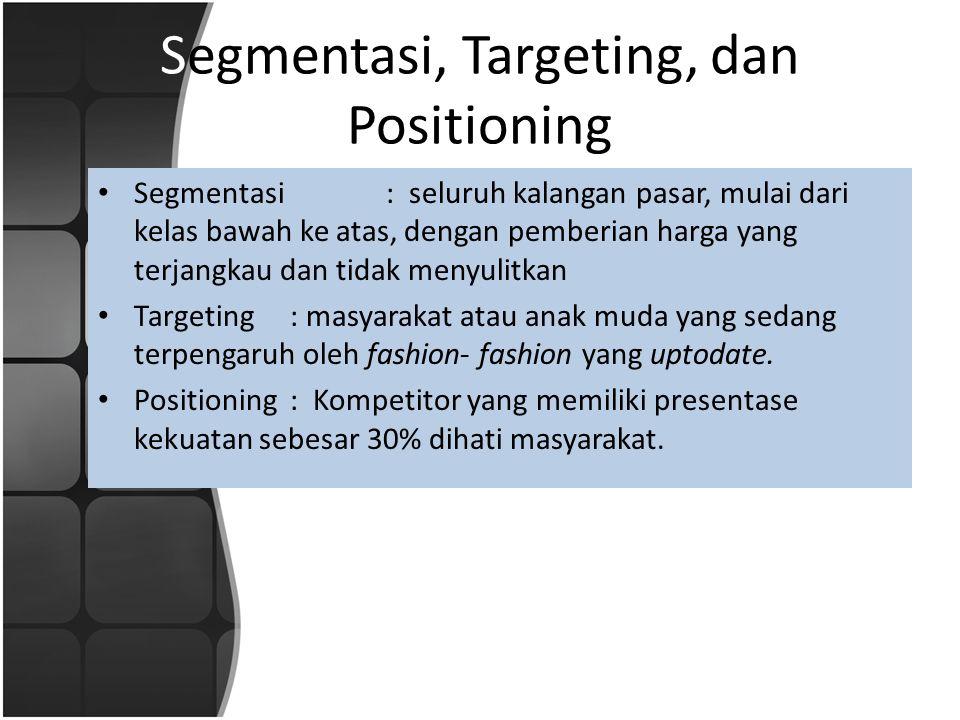 Segmentasi, Targeting, dan Positioning • Segmentasi : seluruh kalangan pasar, mulai dari kelas bawah ke atas, dengan pemberian harga yang terjangkau dan tidak menyulitkan • Targeting: masyarakat atau anak muda yang sedang terpengaruh oleh fashion- fashion yang uptodate.