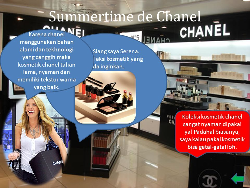 Summertime de Chanel Selamat Siang saya Serena. Berikut Koleksi kosmetik yang anda inginkan. Koleksi kosmetik chanel sangat nyaman dipakai ya! Padahal