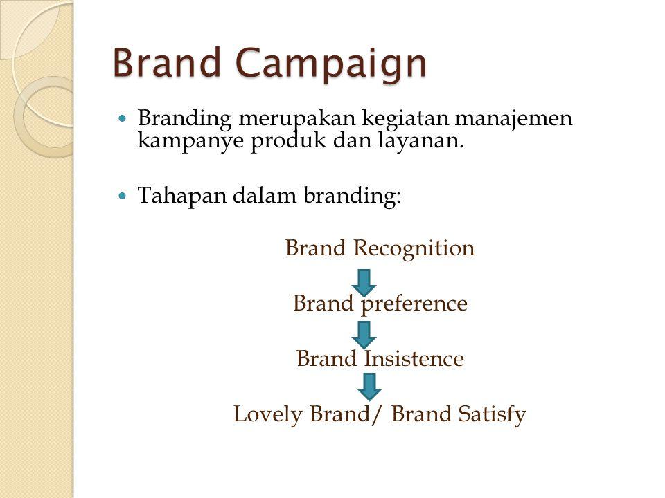 Brand Campaign  Branding merupakan kegiatan manajemen kampanye produk dan layanan.  Tahapan dalam branding: Brand Recognition Brand preference Brand