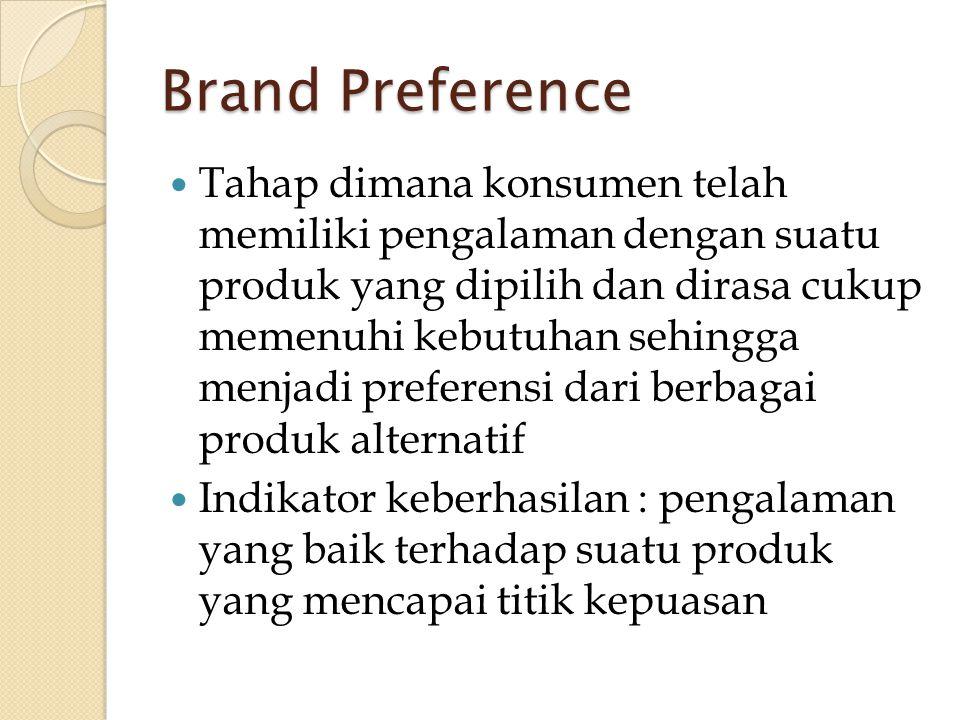 Brand Preference  Tahap dimana konsumen telah memiliki pengalaman dengan suatu produk yang dipilih dan dirasa cukup memenuhi kebutuhan sehingga menja