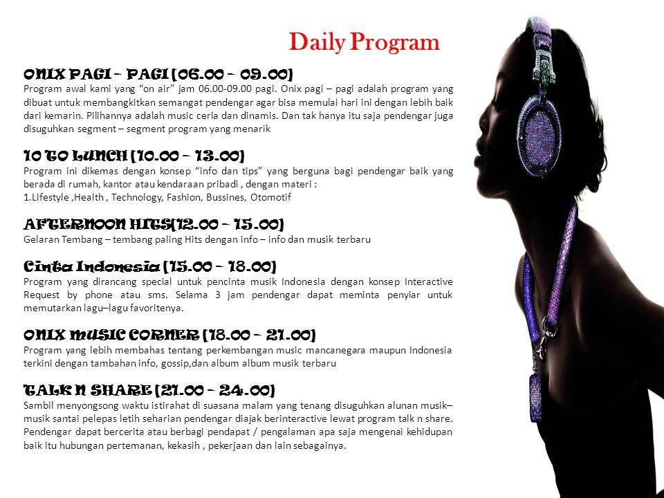 """ONIX PAGI – PAGI [06.00 – 09.00] Program awal kami yang """"on air"""" jam 06.00-09.00 pagi. Onix pagi – pagi adalah program yang dibuat untuk membangkitkan"""