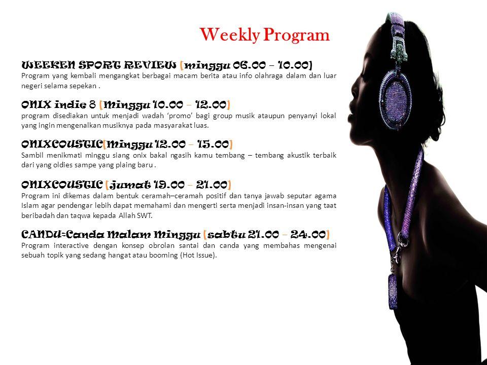 WEEKEN SPORT REVIEW [minggu 06.00 – 10.00] Program yang kembali mengangkat berbagai macam berita atau info olahraga dalam dan luar negeri selama sepekan.