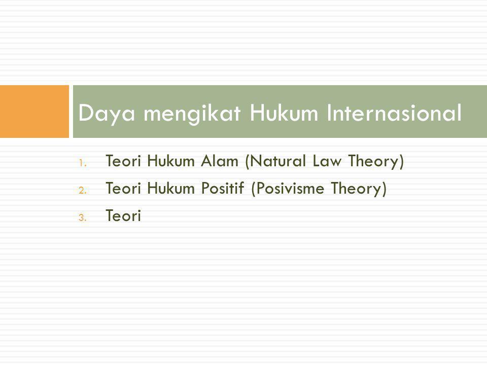 1. Teori Hukum Alam (Natural Law Theory) 2. Teori Hukum Positif (Posivisme Theory) 3. Teori Daya mengikat Hukum Internasional