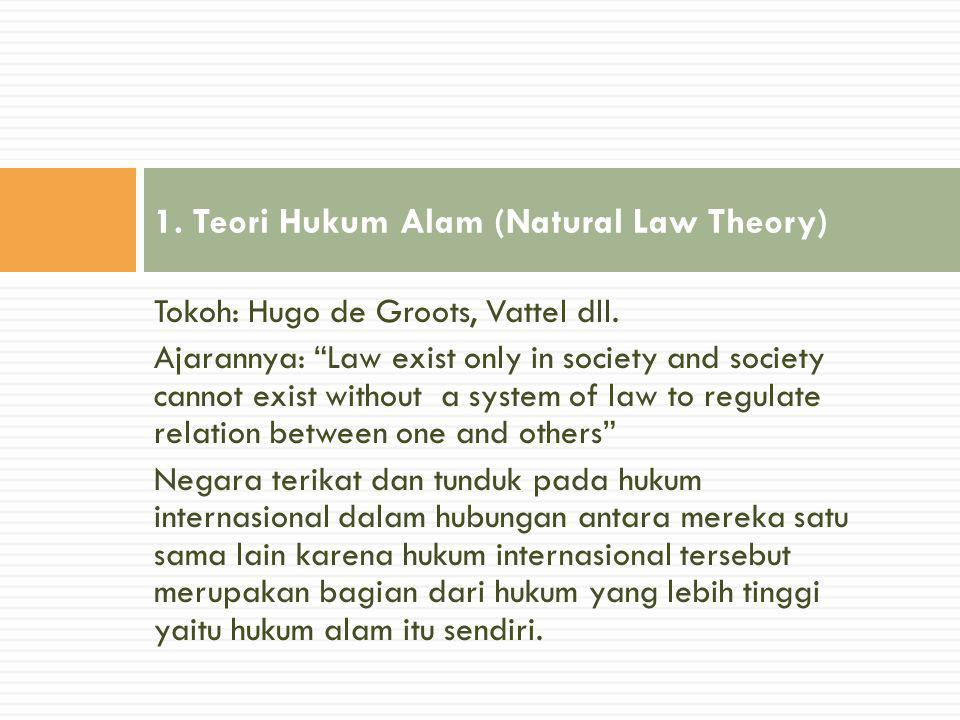 "Tokoh: Hugo de Groots, Vattel dll. Ajarannya: ""Law exist only in society and society cannot exist without a system of law to regulate relation between"