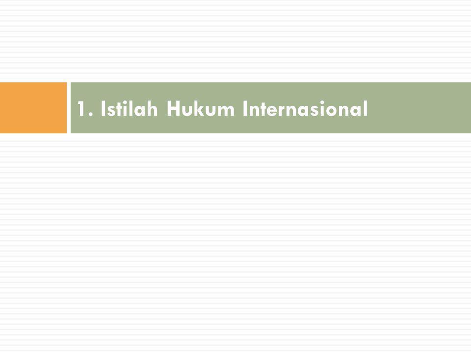 1. Istilah Hukum Internasional