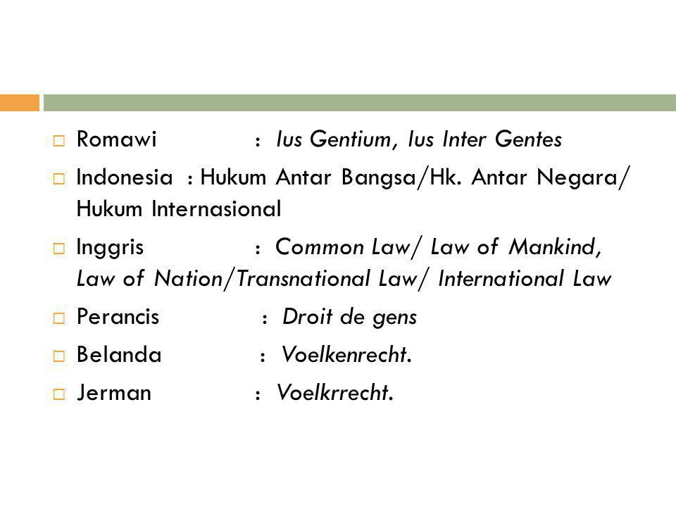  Romawi: Ius Gentium, Ius Inter Gentes  Indonesia: Hukum Antar Bangsa/Hk. Antar Negara/ Hukum Internasional  Inggris: Common Law/ Law of Mankind, L