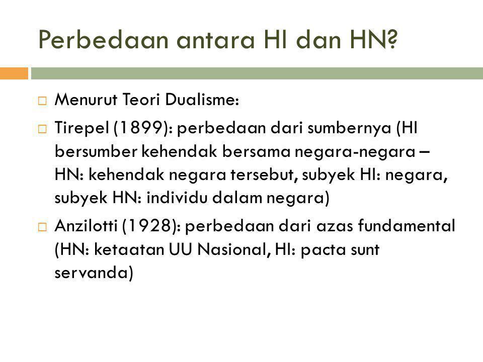 Perbedaan antara HI dan HN?  Menurut Teori Dualisme:  Tirepel (1899): perbedaan dari sumbernya (HI bersumber kehendak bersama negara-negara – HN: ke