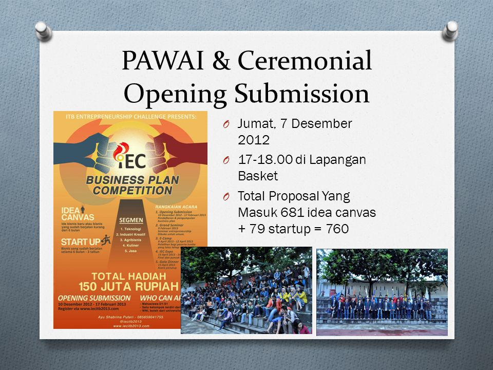 PAWAI & Ceremonial Opening Submission O Jumat, 7 Desember 2012 O 17-18.00 di Lapangan Basket O Total Proposal Yang Masuk 681 idea canvas + 79 startup