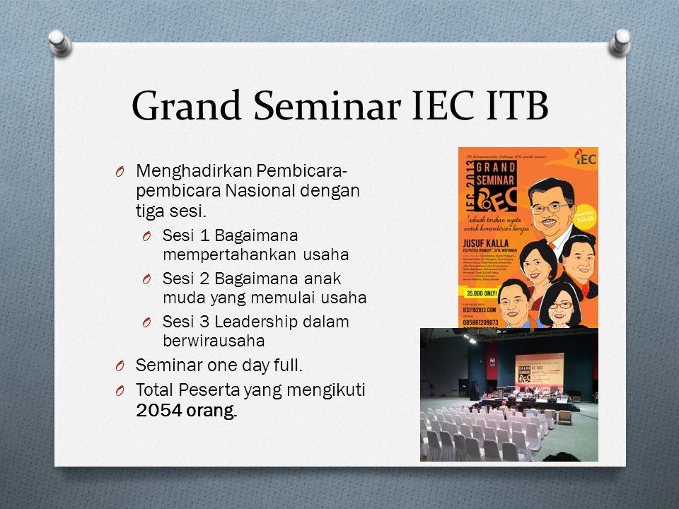 Grand Seminar IEC ITB O Menghadirkan Pembicara- pembicara Nasional dengan tiga sesi.