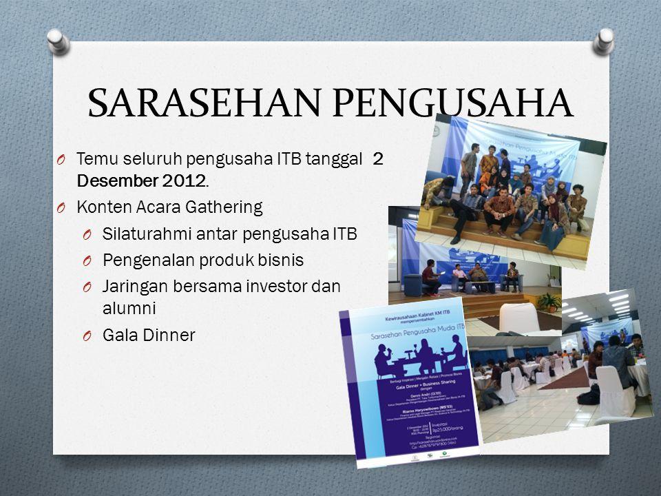 SARASEHAN PENGUSAHA O Temu seluruh pengusaha ITB tanggal 2 Desember 2012.