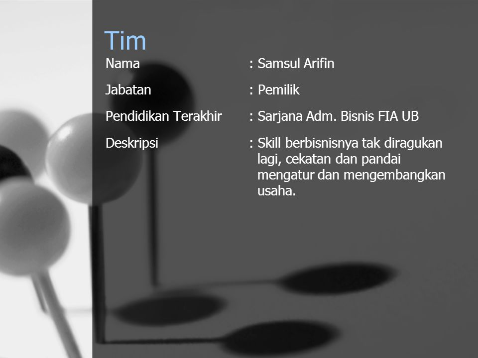 Tim Nama: Samsul Arifin Jabatan: Pemilik Pendidikan Terakhir: Sarjana Adm. Bisnis FIA UB Deskripsi: Skill berbisnisnya tak diragukan lagi, cekatan dan