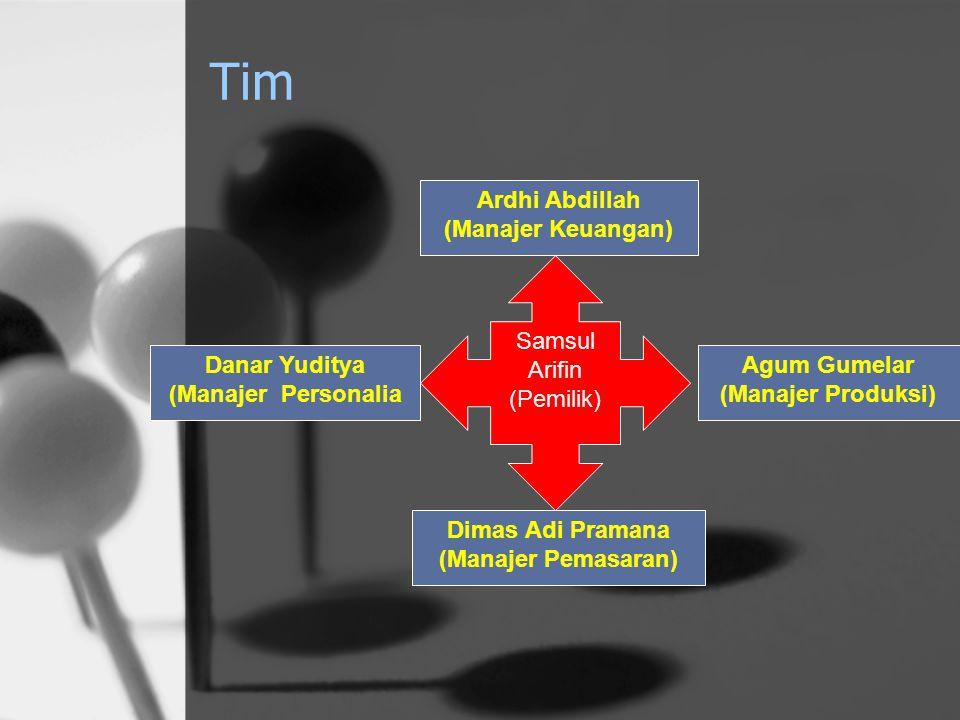Tim Ardhi Abdillah (Manajer Keuangan) Dimas Adi Pramana (Manajer Pemasaran) Agum Gumelar (Manajer Produksi) Danar Yuditya (Manajer Personalia Samsul A