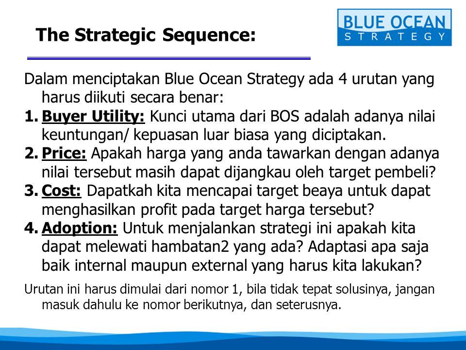 The Strategic Sequence: Dalam menciptakan Blue Ocean Strategy ada 4 urutan yang harus diikuti secara benar: 1.Buyer Utility: Kunci utama dari BOS adal