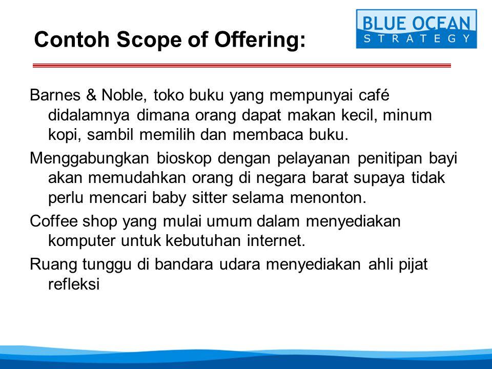Contoh Scope of Offering: Barnes & Noble, toko buku yang mempunyai café didalamnya dimana orang dapat makan kecil, minum kopi, sambil memilih dan memb