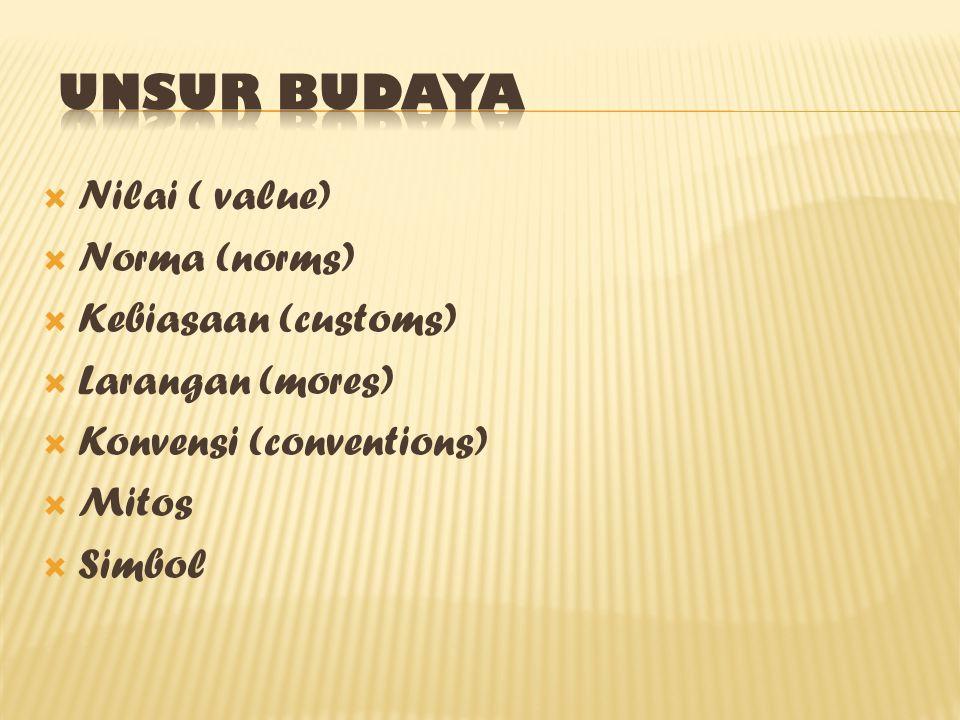  Nilai ( value)  Norma (norms)  Kebiasaan (customs)  Larangan (mores)  Konvensi (conventions)  Mitos  Simbol