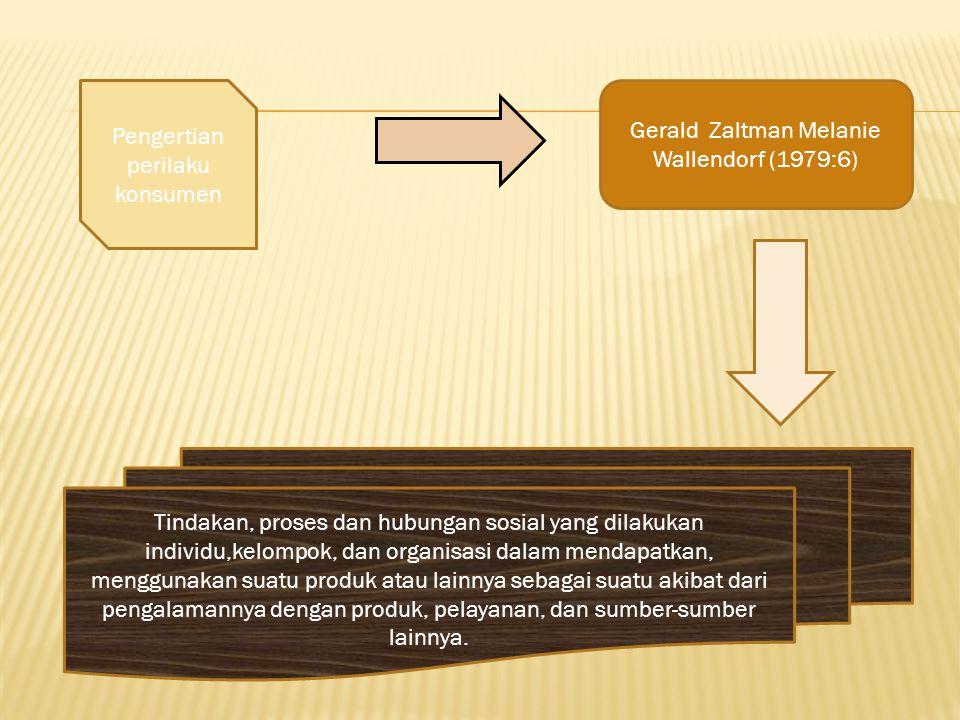 Gerald Zaltman Melanie Wallendorf (1979:6) Pengertian perilaku konsumen Tindakan, proses dan hubungan sosial yang dilakukan individu,kelompok, dan org