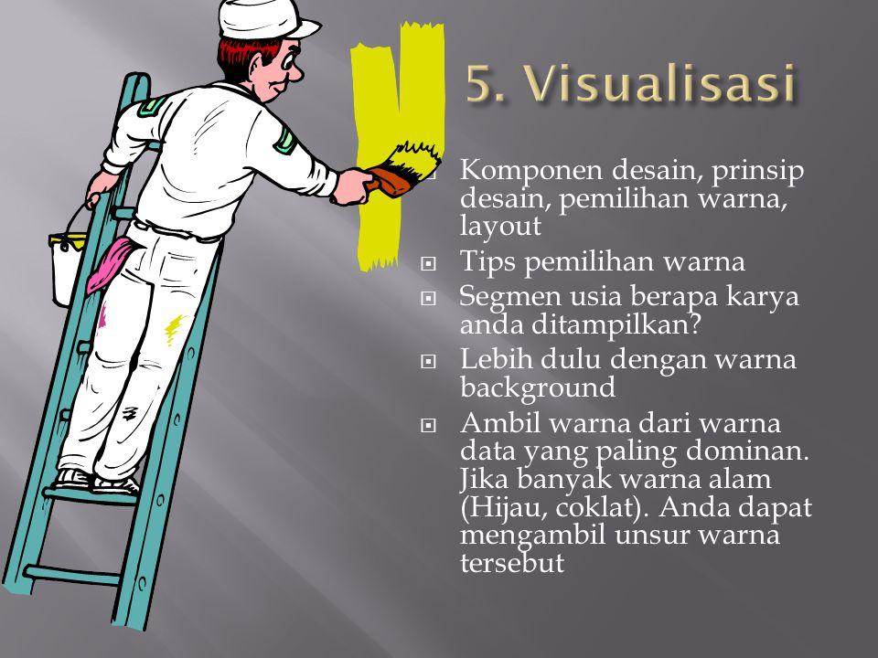  Komponen desain, prinsip desain, pemilihan warna, layout  Tips pemilihan warna  Segmen usia berapa karya anda ditampilkan.